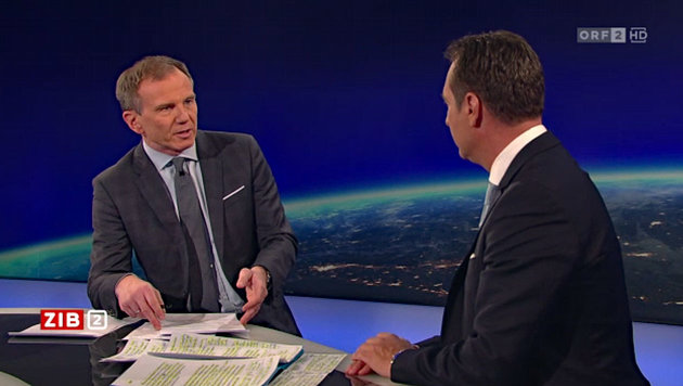 "Heinz-Christian Strache bei Armin Wolf in der ""ZiB 2"" (Bild: Screenshot tvthek.orf.at)"