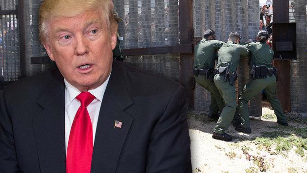 Trump bereitet Mauerbau an US-Grenzen vor (Bild: APA/AFP/GETTY IMAGES/JOHN MOORE, AFP/NICHOLAS KAMM)