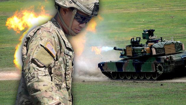 NATO-Mission: US-Panzer nehmen Kurs auf Osteuropa (Bild: AFP/VANO SHLAMOV, AFP/CHRISTOF STACHE)
