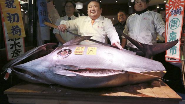 Japan: Luxus-Thunfisch um 600.000 Euro versteigert (Bild: AP)