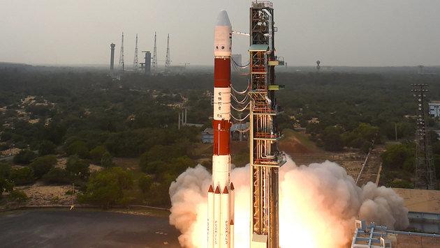 Der Start einer indischen Trägerrakete vom Typ PSLV (Bild: ISRO)