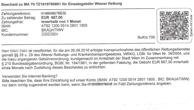 "40 Grad Fieber: Bub soll Rettung 667 Euro zahlen (Bild: ""Krone"")"