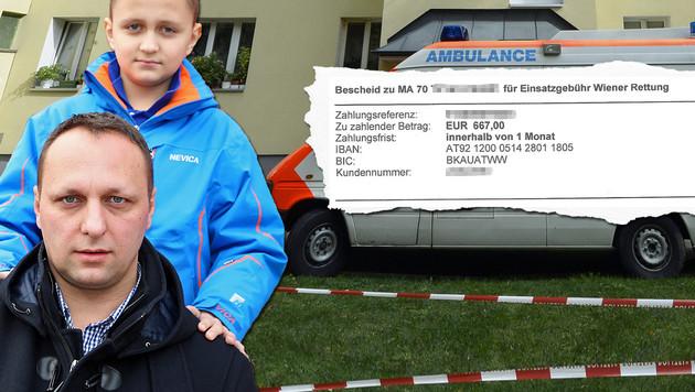 """Versteht die Welt nicht mehr: Alem, im Bild mit Papa Damir, soll 667 Euro zahlen. (Bild: """"Krone"""", Zwefo, APA/HERBERT NEUBAUER)"""