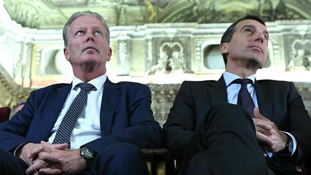 Vizekanzler Reinhold Mitterlehner und Bundeskanzler Christian Kern (Bild: APA/HELMUT FOHRINGER)
