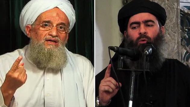 Al-Kaida-Anführer Ayman al-Zawahiri (li.) wettert gegen IS-Chef Abu Bakr al-Baghdadi (re.). (Bild: AFP, AP)