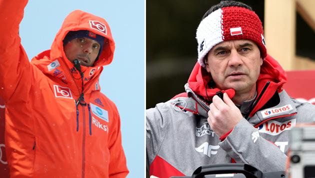 Alex Stöckl und Stefan Horngacher am Trainerturm (Bild: GEPA)