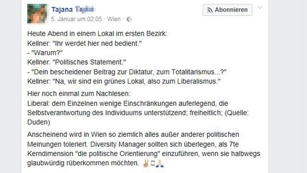 Gudenus' Freundin wetterte auf Facebook über den Lokalverweis. (Bild: Facebook.com/Tajana T.)