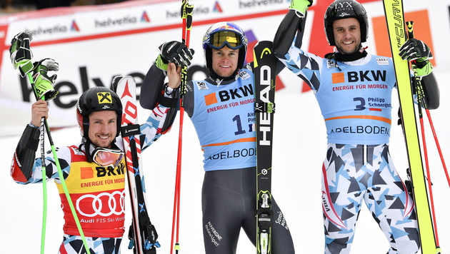 Marcel Hirscher, Alexis Pinturault und Philipp Schörghofer (Bild: APA/KEYSTONE/PETER SCHNEIDER)
