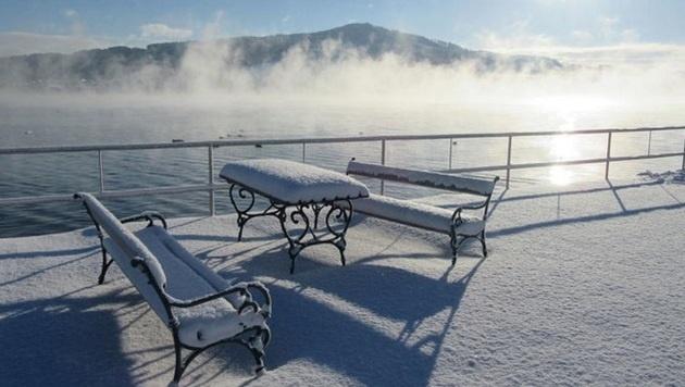 """""""Krone""""-Leserin Edith Gangl schickte der Redaktion diese Stimmung vom Trumer See bei minus 12 Grad. (Bild: Edith Gangl)"""
