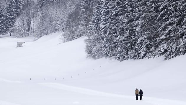 Mehr als 25 Zentimeter Neuschnee verwandelten etwa Werfenweng nahe Salzburg in ein Winterwunderland. (Bild: AP)