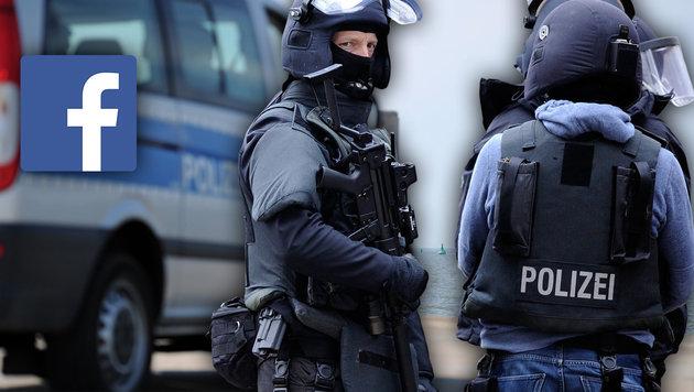 """Bomben in """"Polizei-Pkw"""": Facebook-Islamist gefasst (Bild: dpa/Daniel Reinhardt, dpa/Marius Becker (Symbolbild))"""
