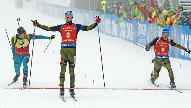 Martin Fourcade, Simon Schempp und Erik Lesser (Bild: Associated Press)