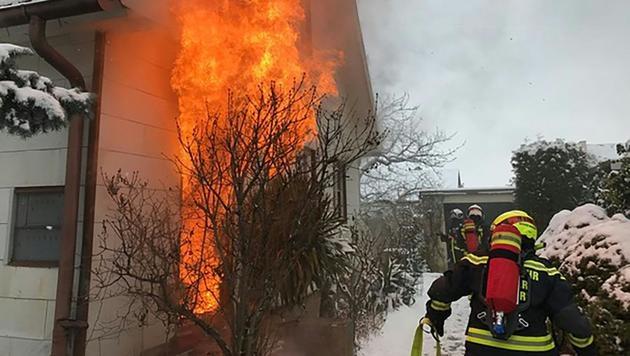 Feuerwehr-Löscheinsätze bei eisigen Temperaturen (Bild: APA/FF WIENER NEUDORF)