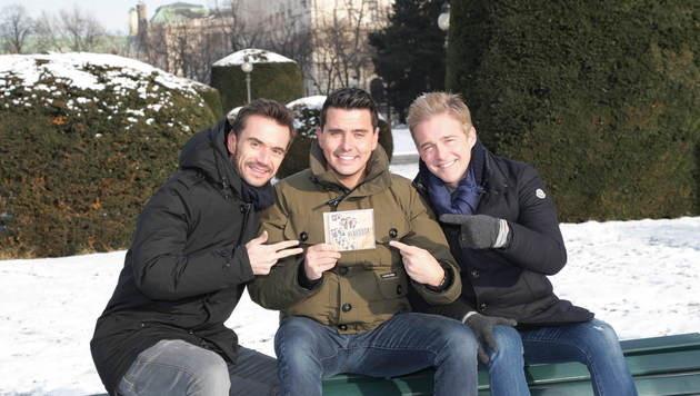Gute-Laune-Trio: Florian Silbereisen, Jan Smit und Christoff (Bild: Starpix/Alexander TUMA)