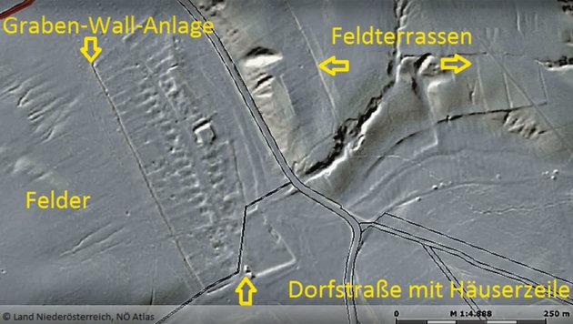Die Ortswüstung Krales bei Enzersdorf im Thale (Bild: Land Niederösterreich, NÖ Atlas)