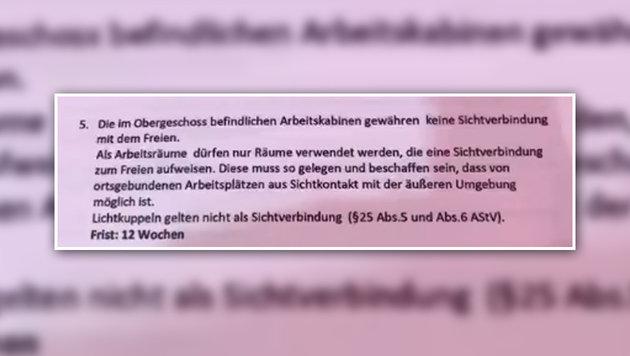 Die betreffende Passage aus der schriftlichen Weisung des Arbeitsinspektorats (Bild: Screenshot facebook.com)