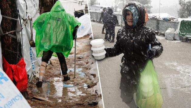 Lesbos: Flüchtlinge wollen nicht auf Kriegsschiff (Bild: AP, APA/AFP/STR)