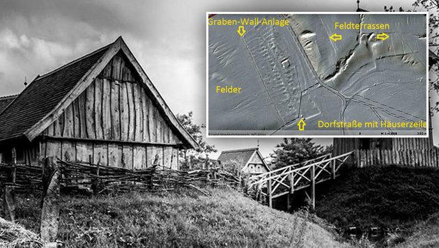 So ähnlich könnte die Erdhügelburg ausgesehen haben; die Ortswüstung Krales in NÖ (kl. Bild) (Bild: Land Niederösterreich, NÖ Atlas, wfw-Film.de (CC BY-NC-SA 4.0))