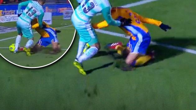 Schock! Kicker zieht sich Horror-Verletzung zu (Bild: YouTube.com)