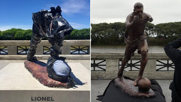 Die Statue von Lionel Messi in Buenos Aires wurde Opfer von Vandalismus. (Bild: APA/AFP/LEO RAMIREZ, APA/AFP/JUAN MABROMATA)