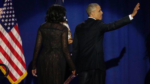 Barack Obama nahm unter Tränen Abschied (Bild: APA/AFP/JOSHUA LOTT)