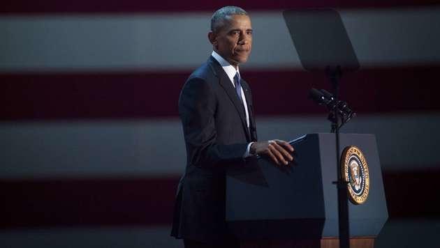 Barack Obama nahm unter Tränen Abschied (Bild: APA/AFP/GETTY IMAGES/Darren Hauck)