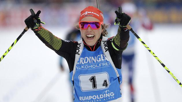 Die deutsche Schlussläuferin Laura Dahlmeier (Bild: AP)