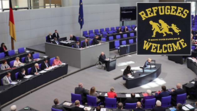 """Refugees welcome"" im Bundestag nicht willkommen (Bild: AFP, Screenshot/linke-t-shirts.de)"