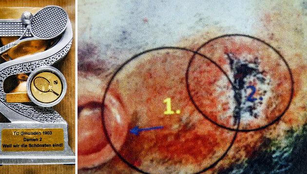 Die Tatwaffe war ein Pokal (li.), Ingrid Sch. wurden schwere Kopfverletzungen zugefügt. (Bild: Markus Tschepp)