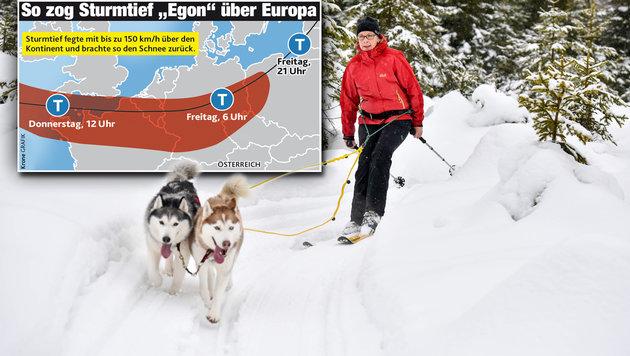 """Sturmtief """"Egon"""" bringt den Winter zurück ins Land (Bild: Markus Wenzel, """"Krone""""-Grafik)"""