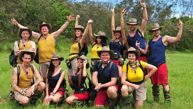 Tag 1: In ihren Dschungeloutfits starten die 12 Promis in ihr Abenteuer. (Bild: RTL)