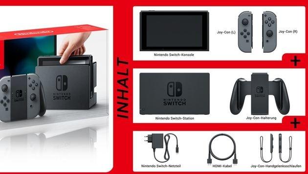 Der Lieferumfang von Nintendos neuer Switch-Konsole (Bild: Nintendo)