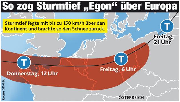 """Sturmtief """"Egon"""" bringt den Winter zurück ins Land (Bild: """"Krone""""-Grafik)"""