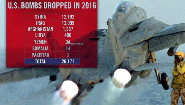 Im Schnitt haben die USA im Vorjahr stündlich drei Bomben abgeworfen. (Bild: AFP, Instagram.com)