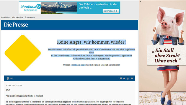 """""""Presse""""-Website wegen Relaunch faktisch offline (Bild: Screenshot Presse.com)"""