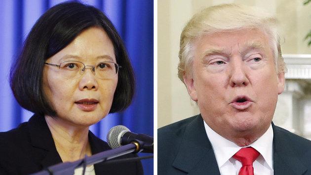 Taiwans Präsidentin Tsai Ing Wen und Trump (Bild: The Associated Press)