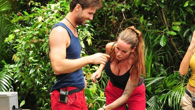 """Gina-Lisa Lohfink hilft """"Honey"""" beim entfernen von Dschungeltierchen. (Bild: RTL)"""