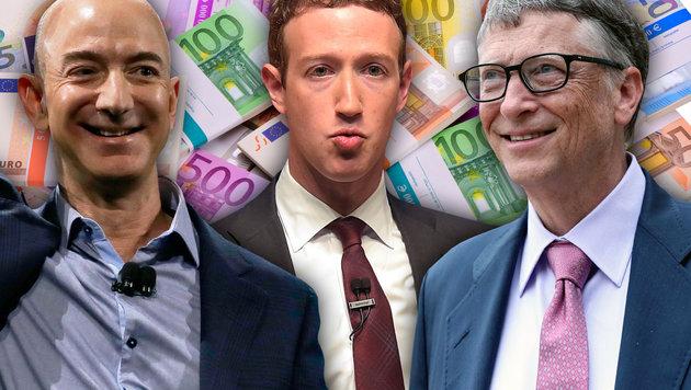 Drei der acht reichsten Menschen: Jeff Bezos, Mark Zuckerberg und Bill Gates (Bild: thinkstockphotos.de, AFP/Rodrigo Buenda, AP)