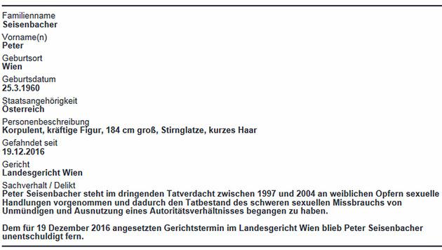 Personenbeschreibung Seisenbachers der Polizei (Bild: Screenshot/bmi.gv.at)