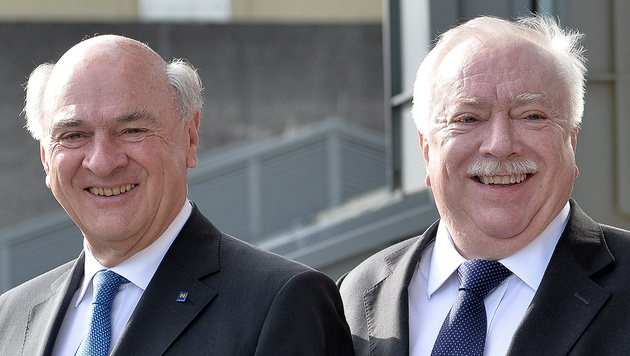 Erwin Pröll und Wiens Bürgermeister Häupl sind durch langjährige Zusammenarbeit eng verbunden. (Bild: APA/BARBARA GINDL)