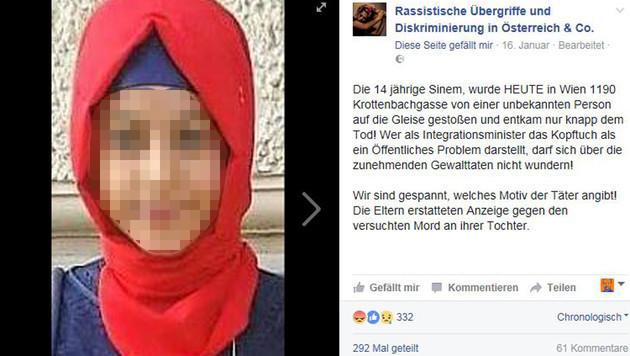 Via Facebook wurde die Geschichte der 14-Jährigen hundertfach geteilt. (Bild: Facebook.com/Rassistische Übergriffe (...))