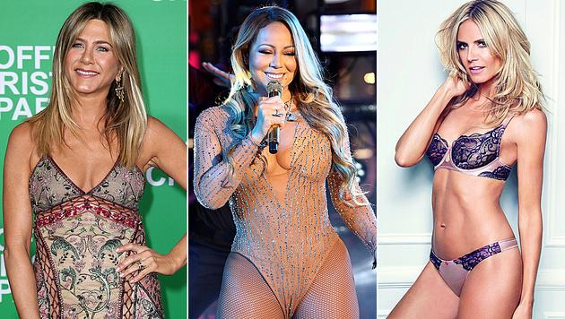 Jennifer Aniston, Mariah Carey und Heidi Klum schwören auf skurrile Arten, um schlank zu bleiben. (Bild: Jonathan Leibson/AFP, Greg Allen/Invision/AP, Viennareport)