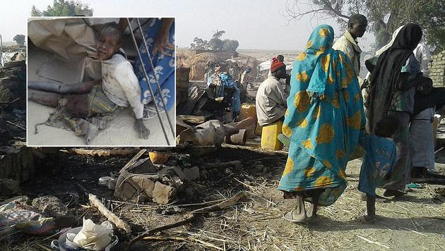 Nigeria: Versehentlich Flüchtlingscamp bombardiert (Bild: AFP)