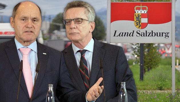 Innenminister Wolfgang Sobotka und sein deutscher Amtskollege Thomas de Maiziere (Bild: APA/BARBARA GINDL, APA/dpa/Soeren Stache)