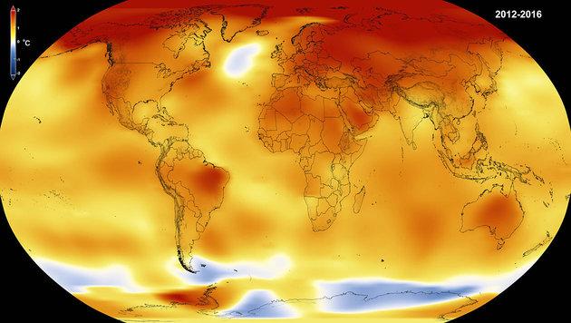 Rekordjahr: Noch nie war es so warm wie 2016 (Bild: NASA/NOAA)