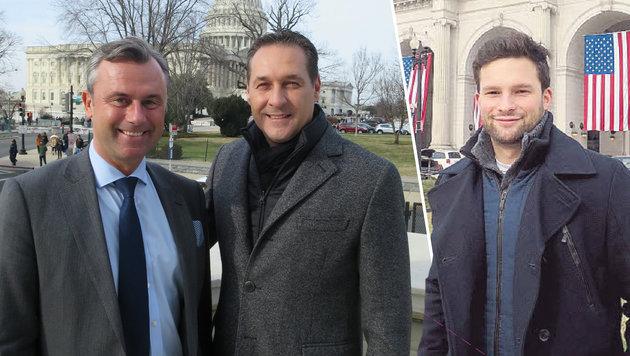 Heinz-Christian Strache und Norbert Hofer vor dem Kapitol; Maxi Ortner studiert in Washington. (Bild: Gregor Brandl)