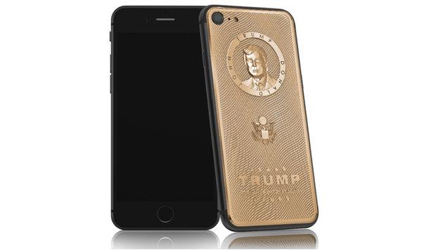 In Russland feiert man Trump mit goldenen iPhones, als Präsidentenhandy sind sie aber wohl tabu. (Bild: Caviar Phone)