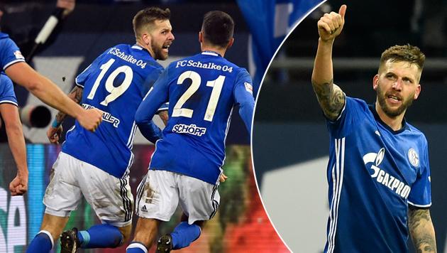 Goldtor! Hier schießt Burgstaller Schalke zum Sieg (Bild: AP)