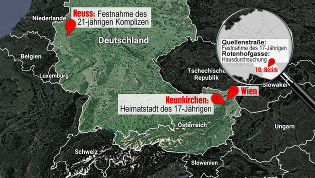 Neunkirchen, Wien, Neuss: Hier lebte der 17-Jährige - und plante ein Attentat. (Bild: google.maps.at, thinkstockphotos.de)
