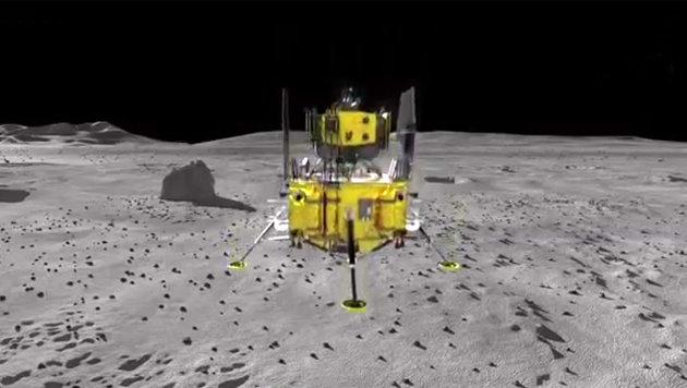 """Künstlerische Illustration: """"Chang""""e-5"""" kurz vor dem Aufsetzen auf dem Mond (Bild: YouTube.com)"""